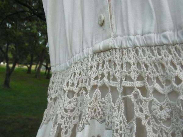 アンティークかぎ針編みワンピースのウエスト仕様
