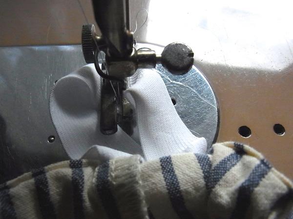 スカートウエストゴム端の縫い方