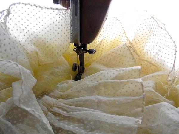 ヴィンテージリメイクドレスの縫製