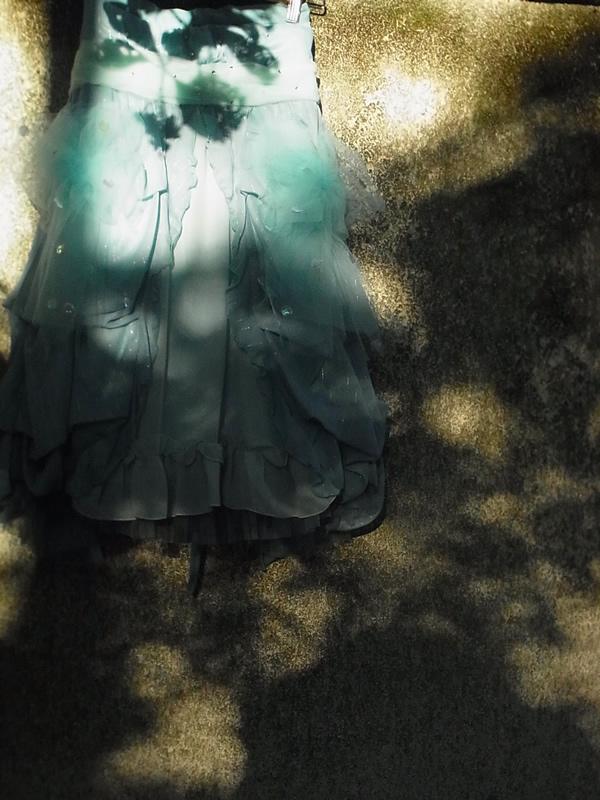 屋外撮影影の中のリメイクスカート