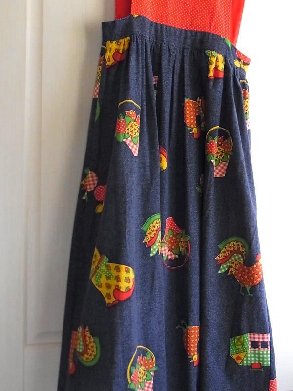 デニム風プリントジャンパースカートのスカート説明