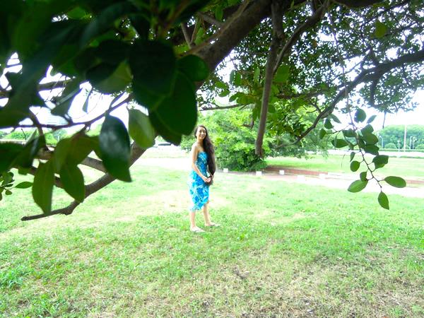 青のハワイアンリメイクドレス