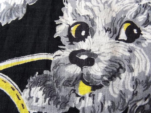 アンティークプードル子犬柄の生地素材