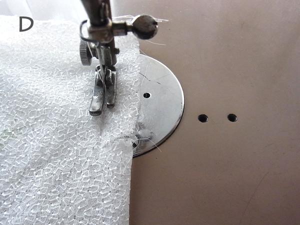 ミシンで縫ってるところ