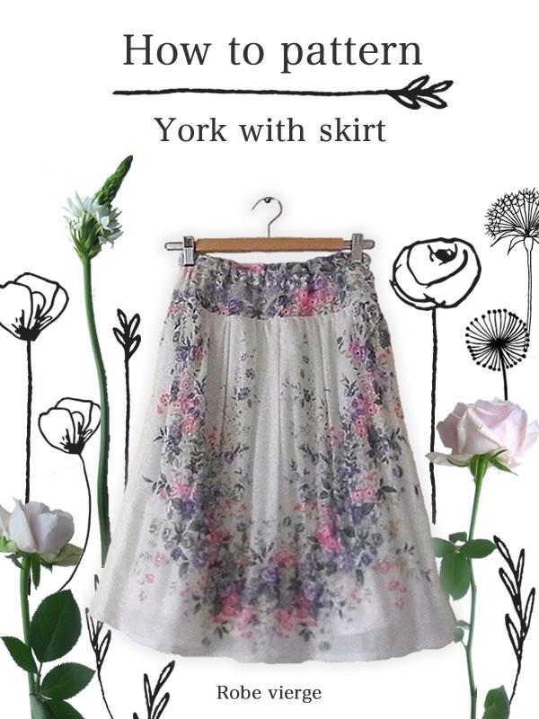 ヨーク付きウエストゴムスカートのパターン