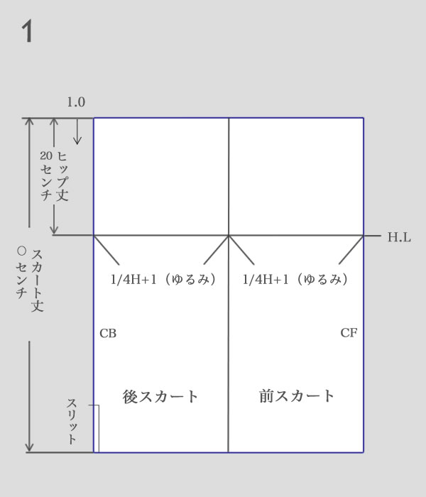 タイトスカートパターン作り方1