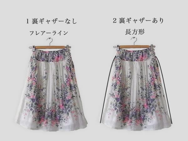 裏スカート2種類の仕上がり