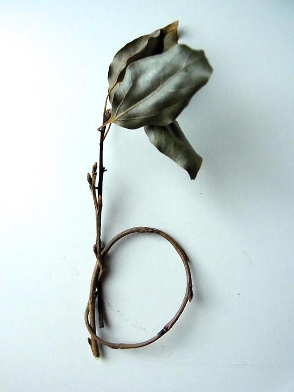 枯葉と枝でアルファベットb