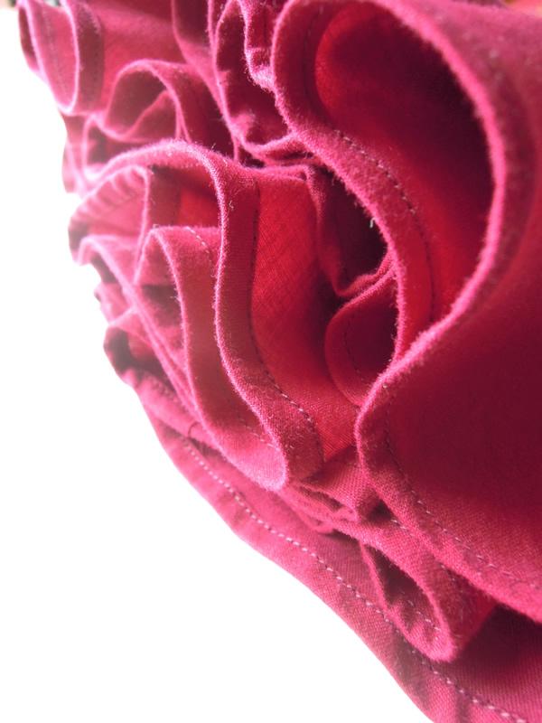 変形フレアースカートの裾