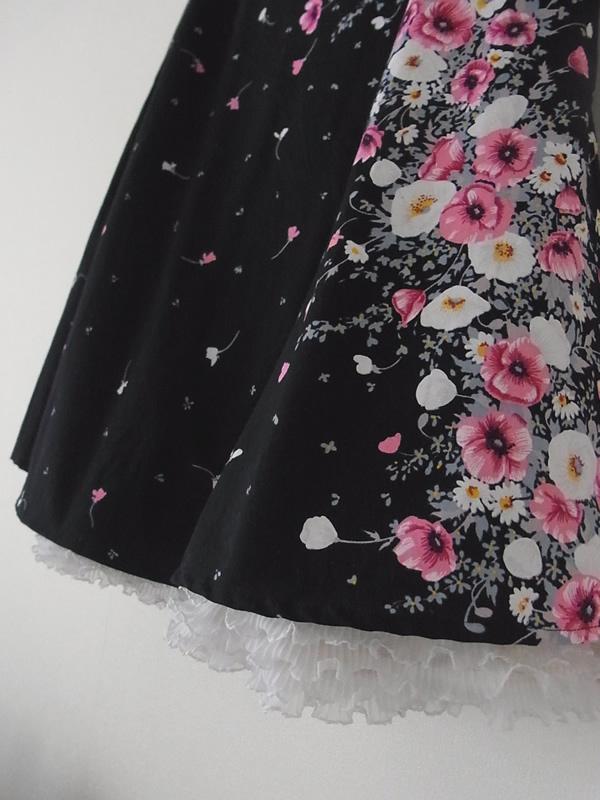 アンティークリメイクスカートの裾フリル重ね付け