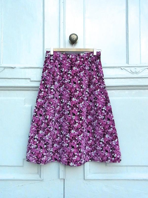 ピンク花柄フレアースカート