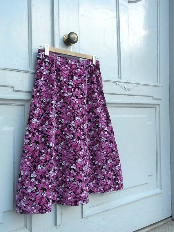 ピンク花柄リメイクスカート