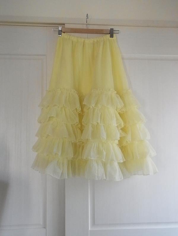 レモンイエローのリメイクスカート