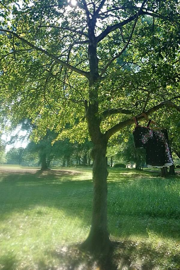木に吊るしたリメイクツーピース