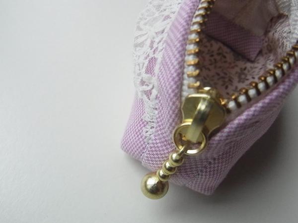 紫の布製コインケース