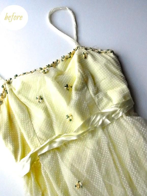 黄色のドレス前身頃