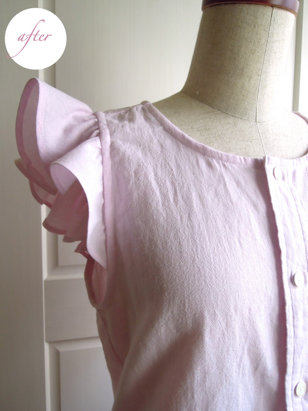メンズシャツからリメイクした袖フリル