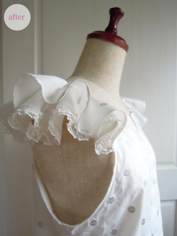 袖フリルブラウスの完成横から写真