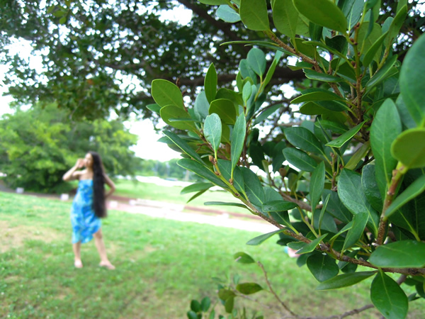 ハワイアンリメイクドレスの屋外撮影