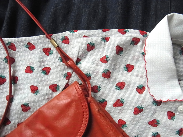 苺柄ブラウスと赤いバック