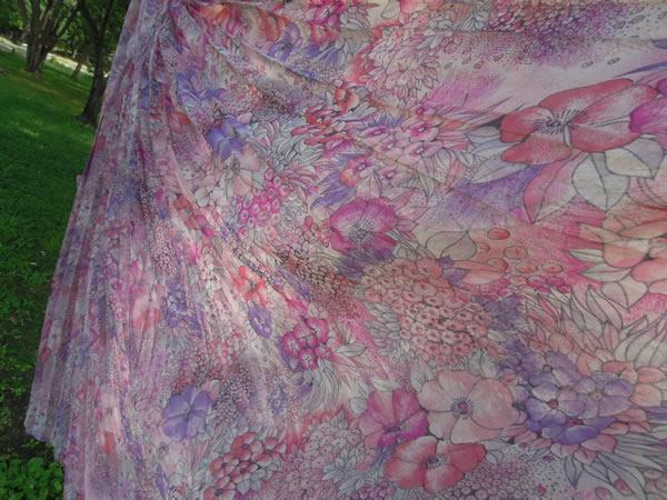 アンティーク水彩画プリントワンピースのスカート