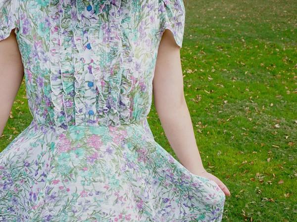 妖精の森グリーン花柄ワンピース