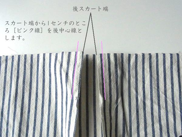 リメイクスカート後中心線の説明