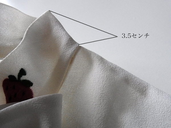 いちご刺繍ブラウスの立ち襟.