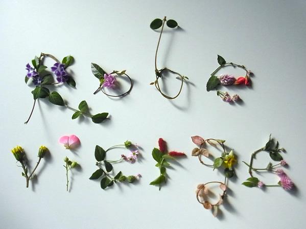秋の花で作ったRobeviergeの花文字